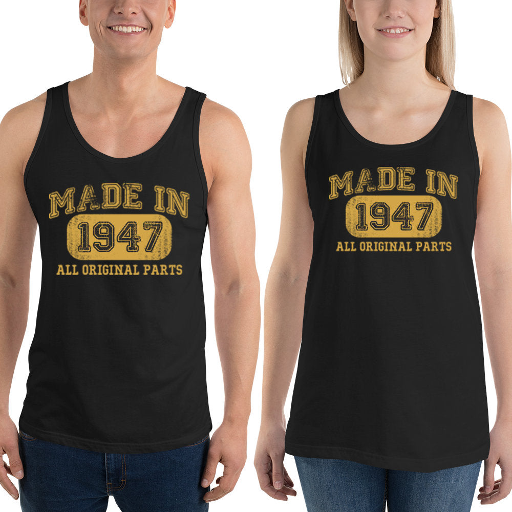 1947 Birthday Gift, Vintage Born in 1947 Tank tops for women men, 73rd Birthday shirt for her him, Made in 1947 Tanks, 73 Year Old Birthday