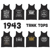 1943 Birthday Gift, Vintage Born in 1943 Tank tops for women men, 77th Birthday shirt for her him, Made in 1943 Tanks, 77 Year Old Birthday