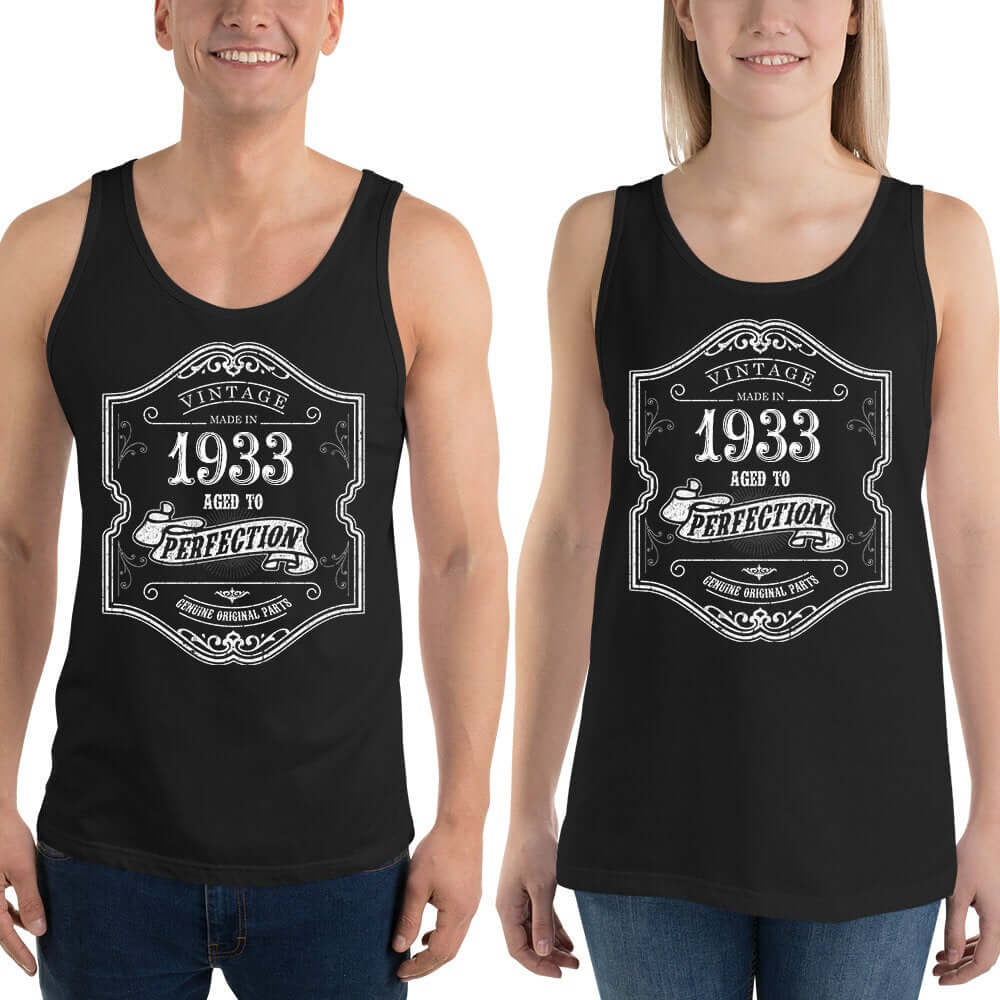1933 Birthday Gift, Vintage Born in 1933 Tank tops for Women men, 87th Birthday shirt for him her, Made in 1933  Tanks, 87 Year Old Birthday Size: XSDesign: #5Color: Black