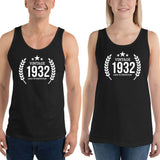 1932 Birthday Gift, Vintage Born in 1932 Tank tops for men women 88th Birthday shirt for him her, Made in 1932  Tanks, 88 Year Old Birthday Size: XSDesign: #6Color: Black