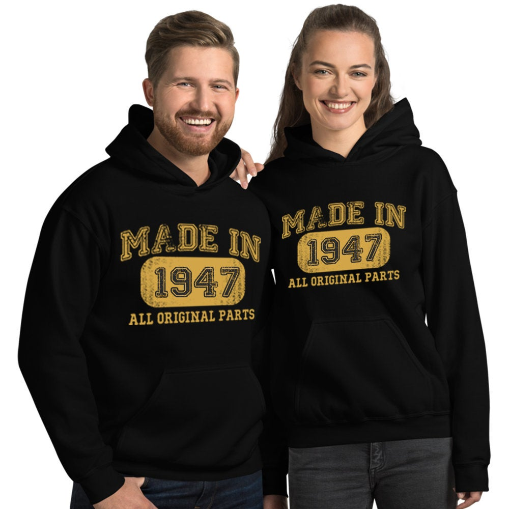 1947 Birthday Gift, Vintage Born in 1947 Hooded Sweatshirt for women men, 73rd Birthday Hoodie for her him, Made in 1947 Hoodies 73 Year Old Size: SDesign: #1Color: Black