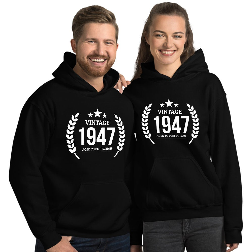 1947 Birthday Gift, Vintage Born in 1947 Hooded Sweatshirt for women men, 73rd Birthday Hoodie for her him, Made in 1947 Hoodies 73 Year Old Size: SDesign: #6Color: Black