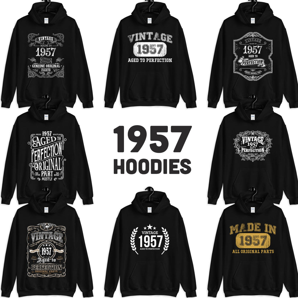 1957 Birthday Gift, Vintage Born in 1957 Hooded Sweatshirt for women men, 63rd Birthday Hoodies for her him, Made in 1957 Hoodie 63 Year Old Size: S, M, L, XL, 2X, 3X, 4X, 5XDesign: #1, #2, #3, #4, #5, #6, #7, #8Color: Black