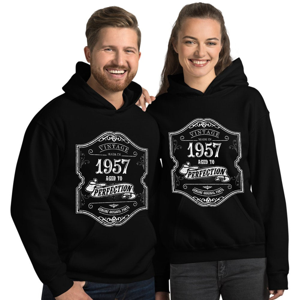 1957 Birthday Gift, Vintage Born in 1957 Hooded Sweatshirt for women men, 63rd Birthday Hoodies for her him, Made in 1957 Hoodie 63 Year Old Size: SDesign: #5Color: Black