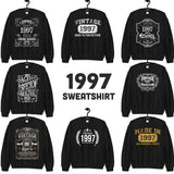 1997 Birthday Gift, Vintage Born in 1997, 23rd Birthday Sweatshirts for men women Made in 1997 T-shirt, 23 Year Old Birthday Gift Sweatshirt