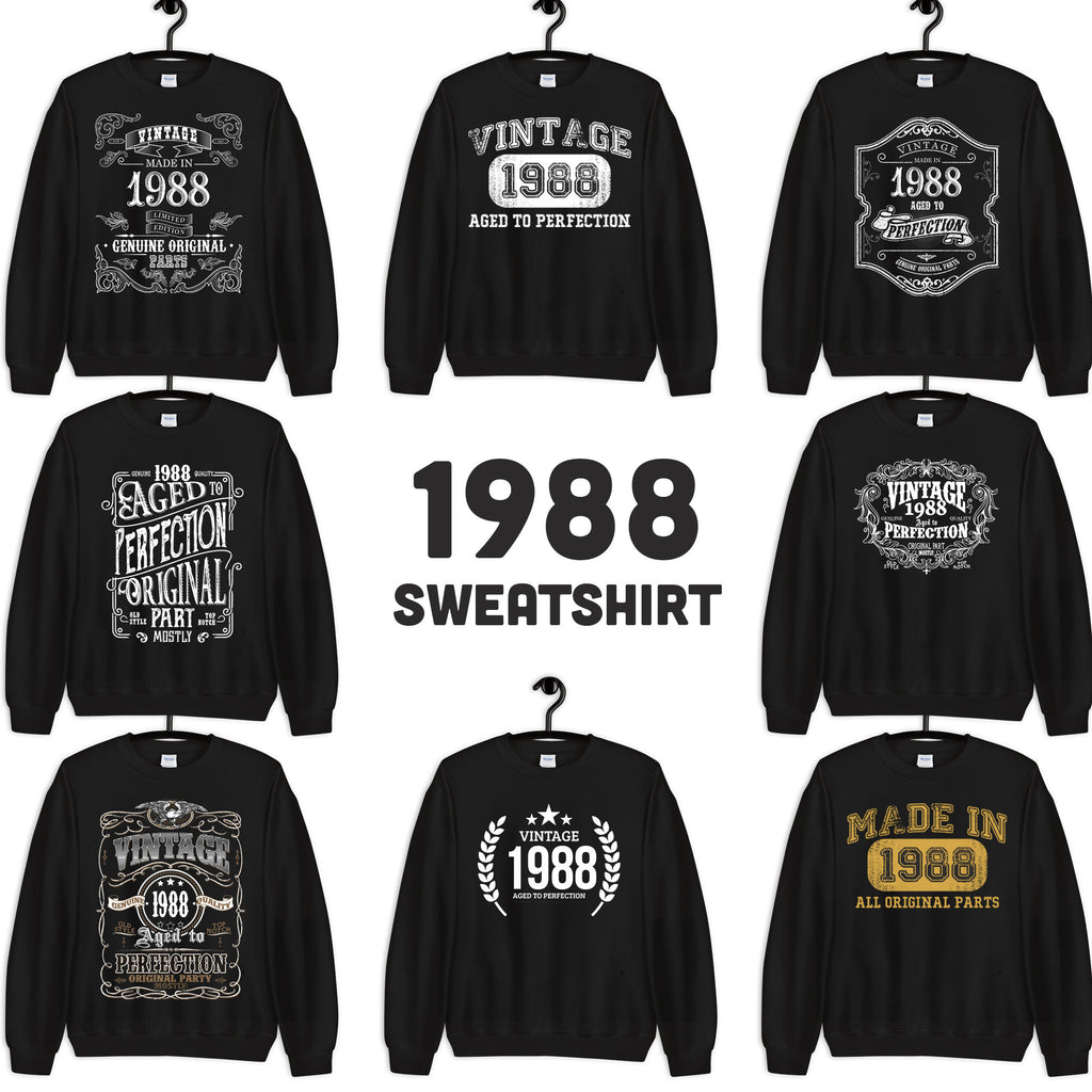 1988 Birthday Gift, Vintage Born in 1988 Sweatshirts for men women, 32nd Birthday, Made in 1988 Sweatshirt custom 32 Year Old Birthday Shirt
