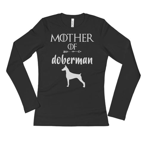 Ladies' Mother of Doberman Long Sleeve TShirt Doberman Gift-T-Shirt-BelDisegno-S-Black-BelDisegno
