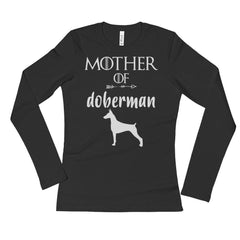 Ladies' Mother of Doberman Long Sleeve T-shirt Doberman Gift 2XL / Black T-Shirt BelDisegno