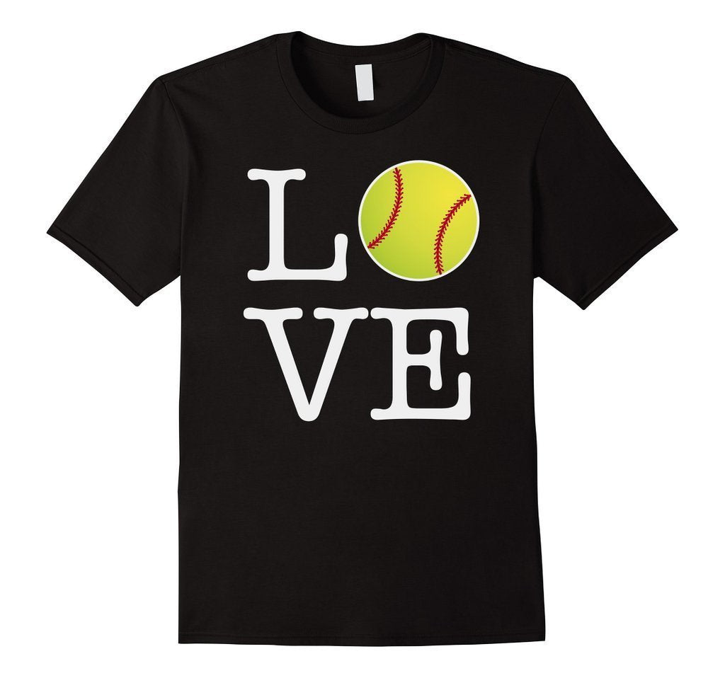 Love Softball Ball T-shirt Black / 3XL T-Shirt BelDisegno