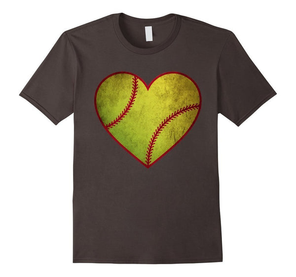 Love Softball Heart Ball T-shirt Asphalt / 3XL T-Shirt BelDisegno
