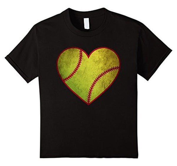 Love Softball Heart Ball T-shirt Black / 3XL T-Shirt BelDisegno