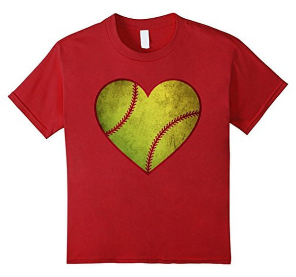 Love Softball Heart Ball T-shirt Cranberry / 3XL T-Shirt BelDisegno