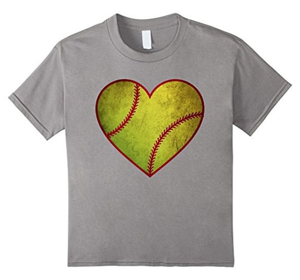 Love Softball Heart Ball T-shirt Heather Grey / 3XL T-Shirt BelDisegno