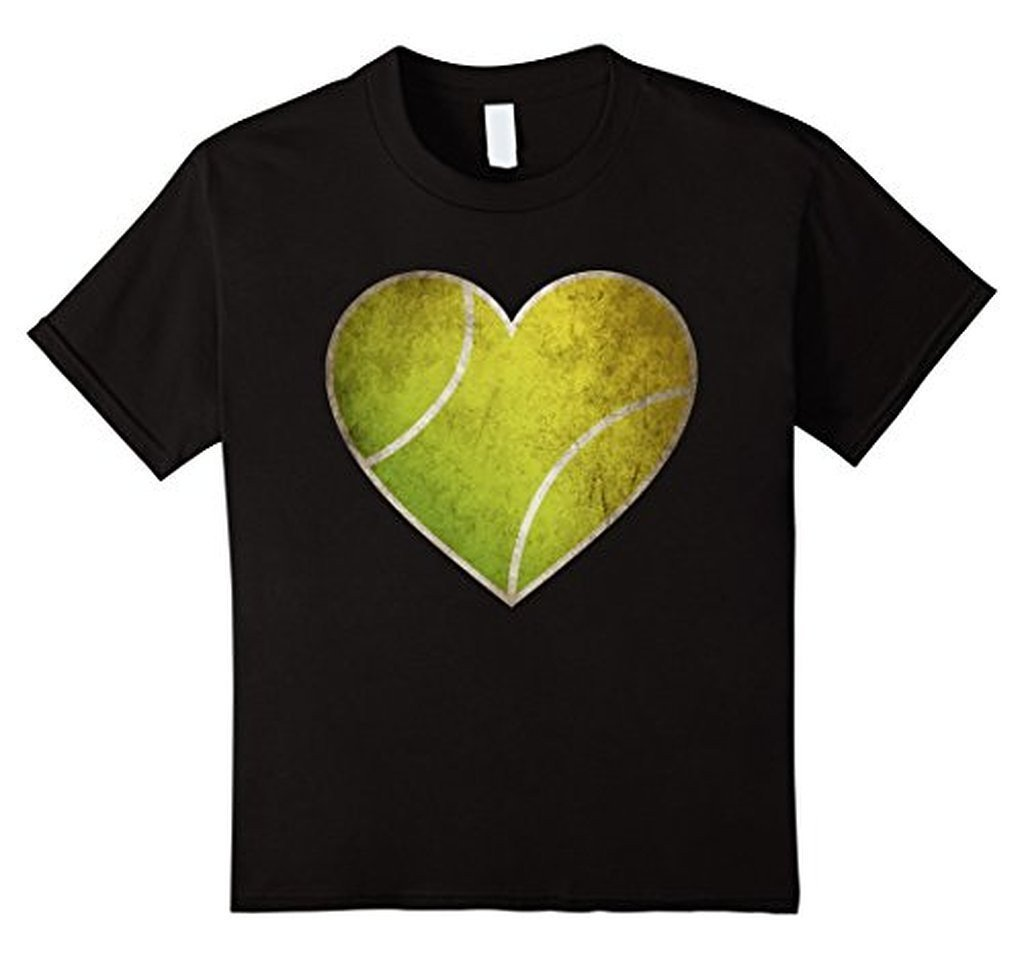 Love Tennis Heart Ball T-shirt Black / 3XL T-Shirt BelDisegno