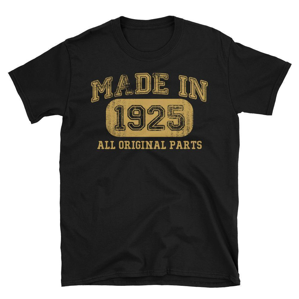 Made in 1925 all original parts T-shirt gift ideas for 93 year old women men Black / 3XL T-Shirt BelDisegno