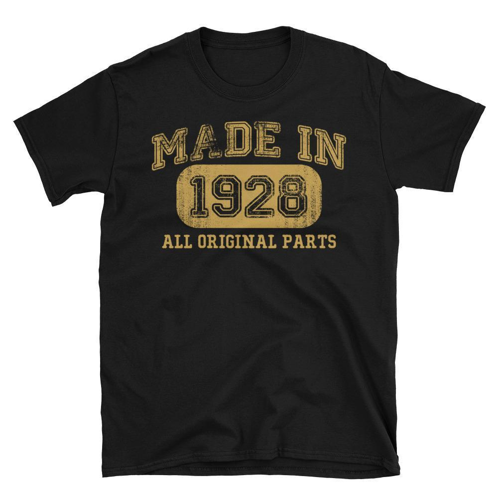 Made in 1928 all original parts T-shirt gift ideas for 90 year old women men Black / 3XL T-Shirt BelDisegno
