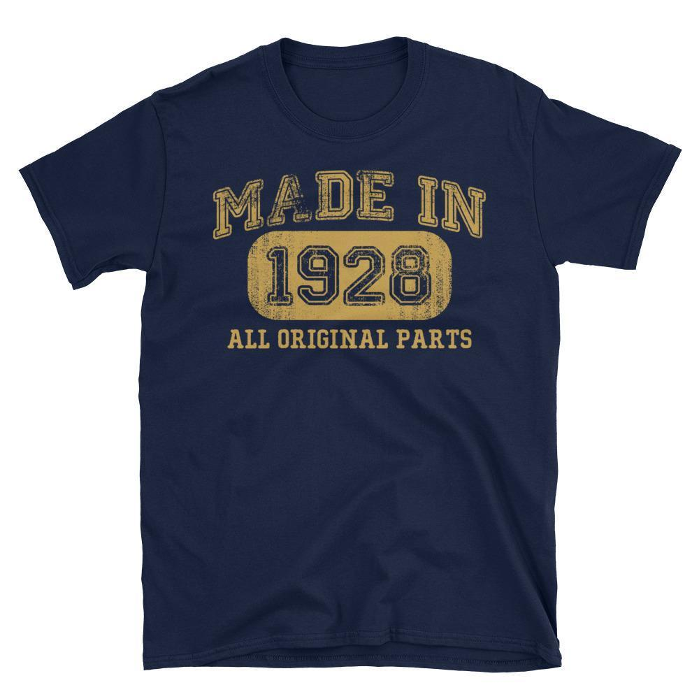 Made in 1928 all original parts T-shirt gift ideas for 90 year old women men Navy / 3XL T-Shirt BelDisegno