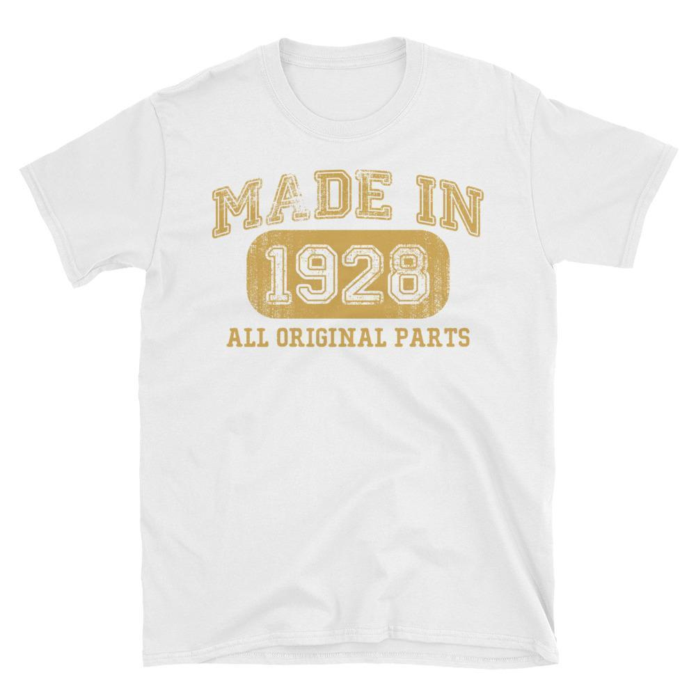 Made in 1928 all original parts T-shirt gift ideas for 90 year old women men White / 3XL T-Shirt BelDisegno
