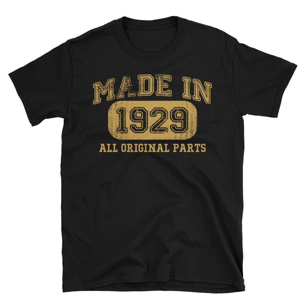 Made in 1929 all original parts T-shirt gift ideas for 89 year old women men Black / 3XL T-Shirt BelDisegno