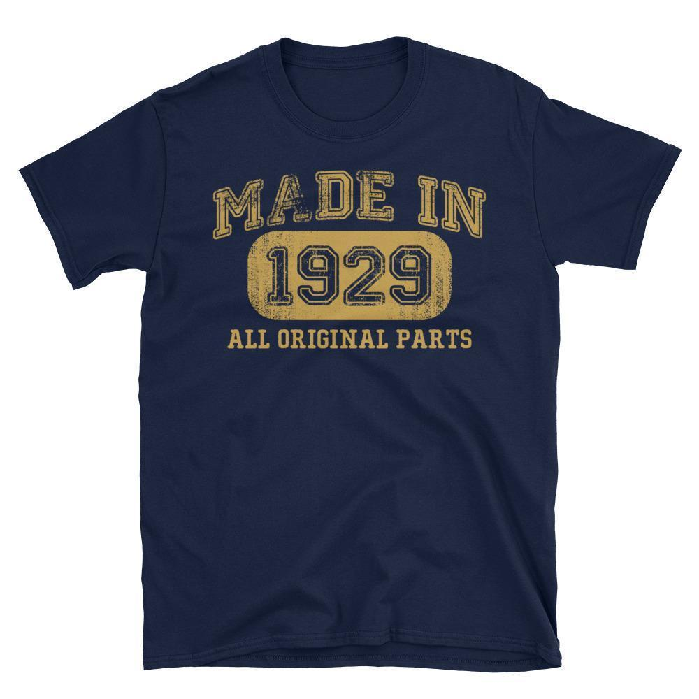 Made in 1929 all original parts T-shirt gift ideas for 89 year old women men Navy / 3XL T-Shirt BelDisegno