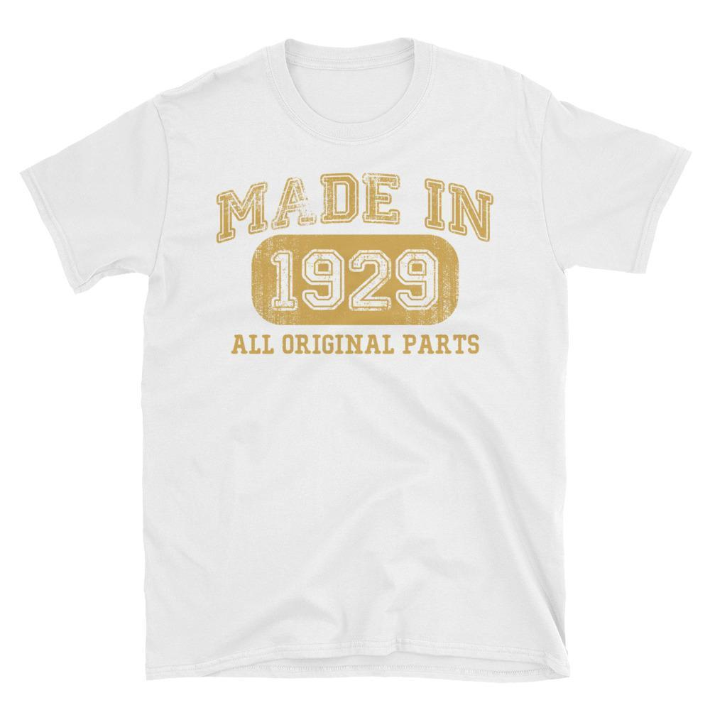 Made in 1929 all original parts T-shirt gift ideas for 89 year old women men White / 3XL T-Shirt BelDisegno