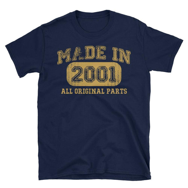 Made in 2001 all original parts TShirt gift ideas for 17 year old women men-T-Shirt-BelDisegno-Navy-S-BelDisegno