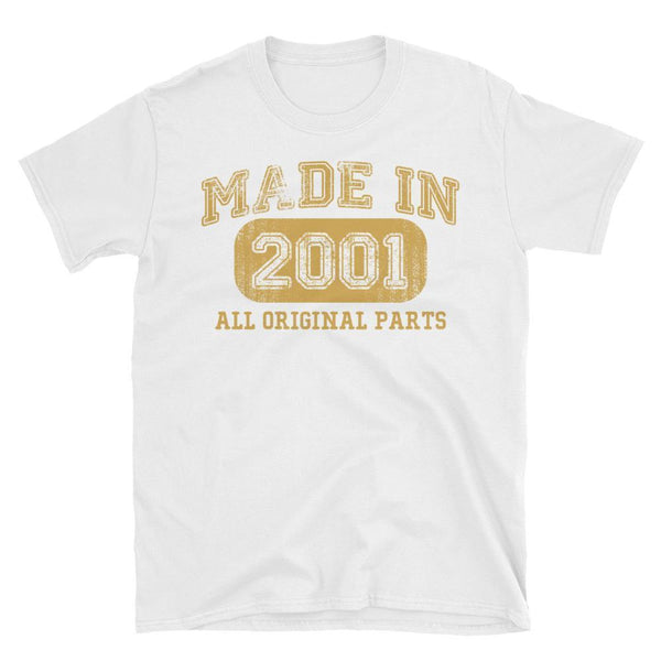 Made in 2001 all original parts TShirt gift ideas for 17 year old women men-T-Shirt-BelDisegno-White-S-BelDisegno