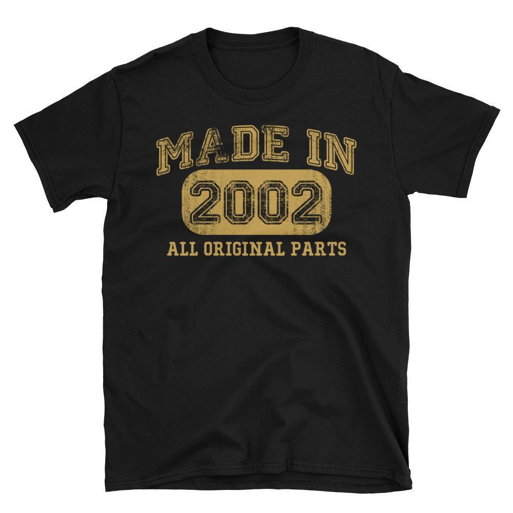 Made in 2002 all original parts TShirt gift ideas for 16 year old women men-T-Shirt-BelDisegno-Black-S-BelDisegno