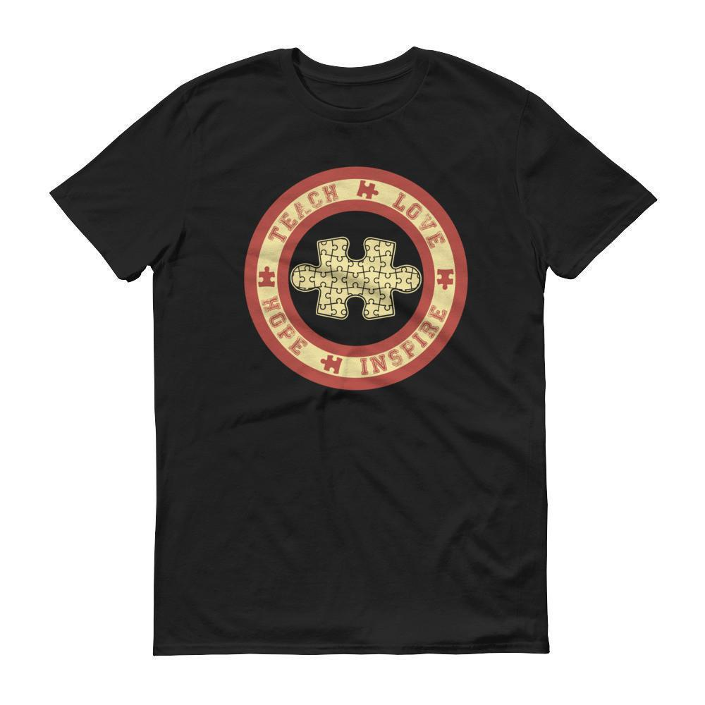 Autism Awareness Teach Love Hope Inspire Puzzle T-shirt Color: Black, Smoke, Navy, Independence RedSize: S, M, L, XL, 2XL, XS, 3XL