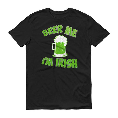 Men's Beer me I'm IRISH tshirt Distressed st patrick's day 2018 shirt-T-Shirt-BelDisegno-Black-S-BelDisegno