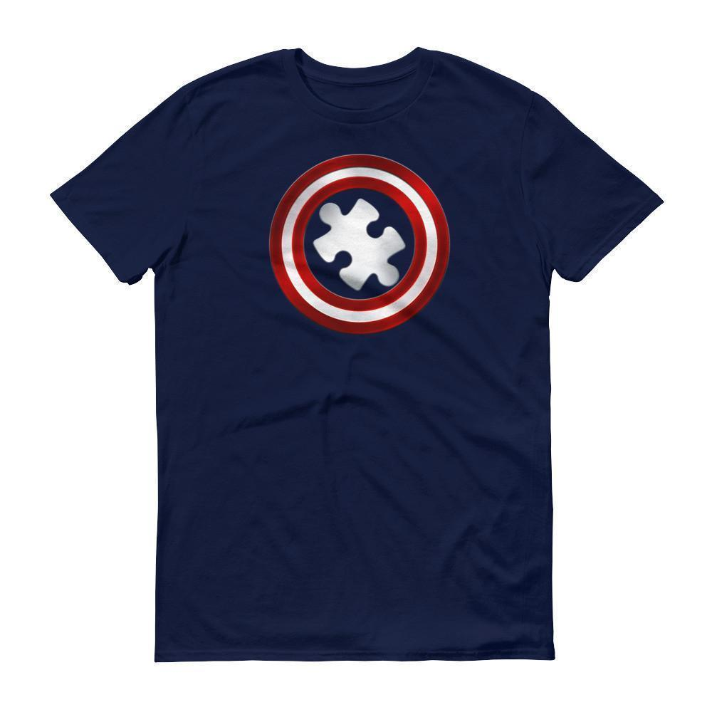 Men's Captain Autism Superhero Autism Awareness Product T-shirt Navy / 3XL / Men T-Shirt BelDisegno