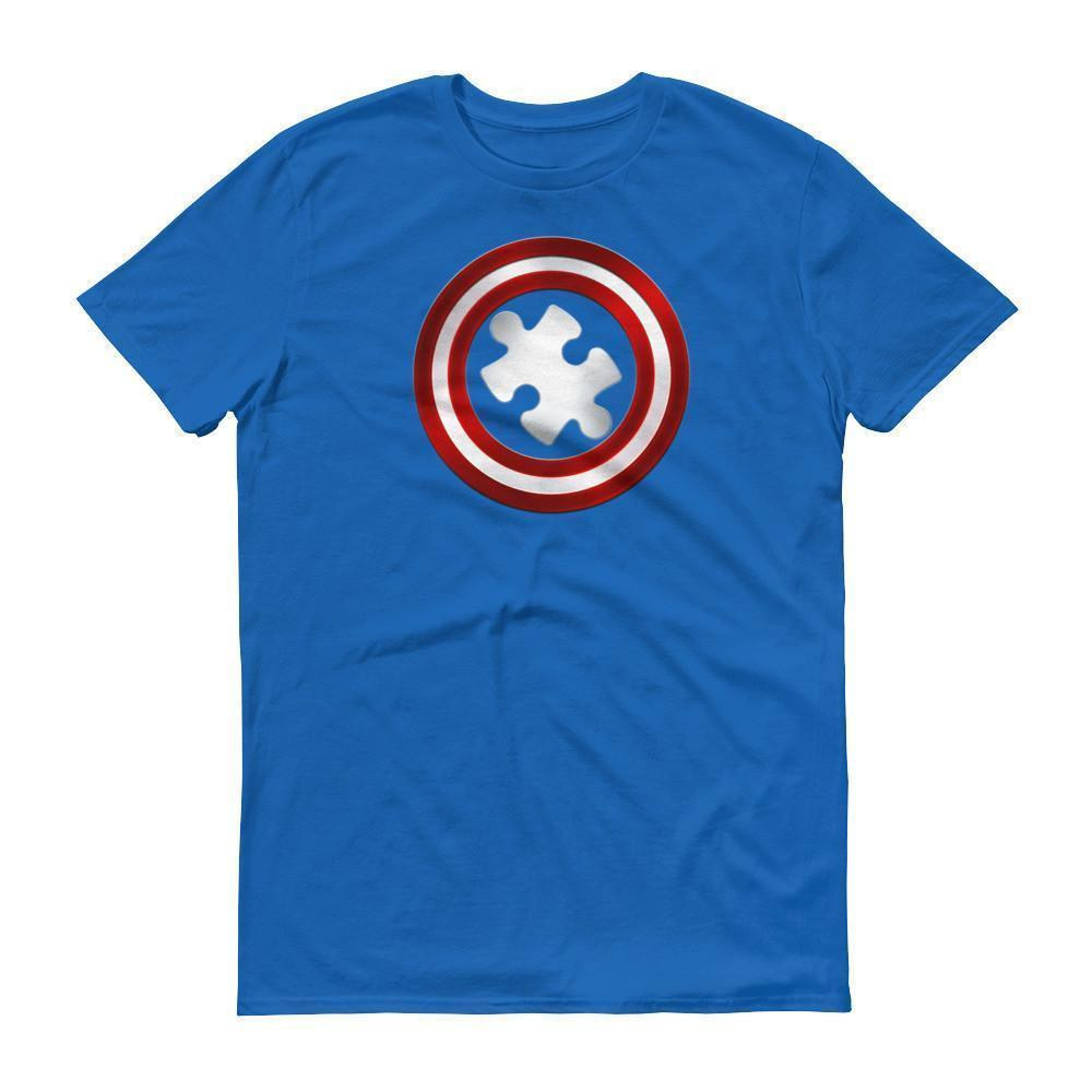 Men's Captain Autism Superhero Autism Awareness Product T-shirt Royal Blue / 3XL / Men T-Shirt BelDisegno