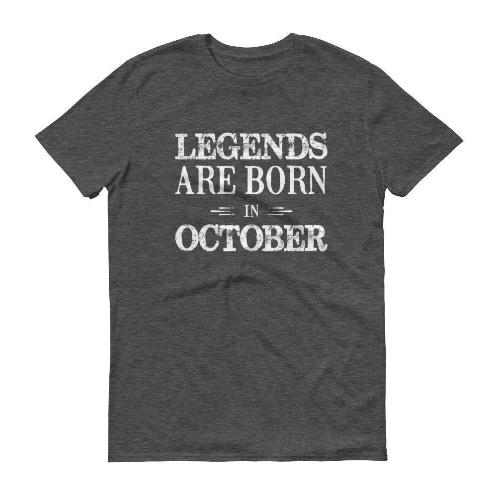Men's Legends are born in October Birthday tshirt-T-Shirt-BelDisegno-Heather Dark Grey-S-BelDisegno