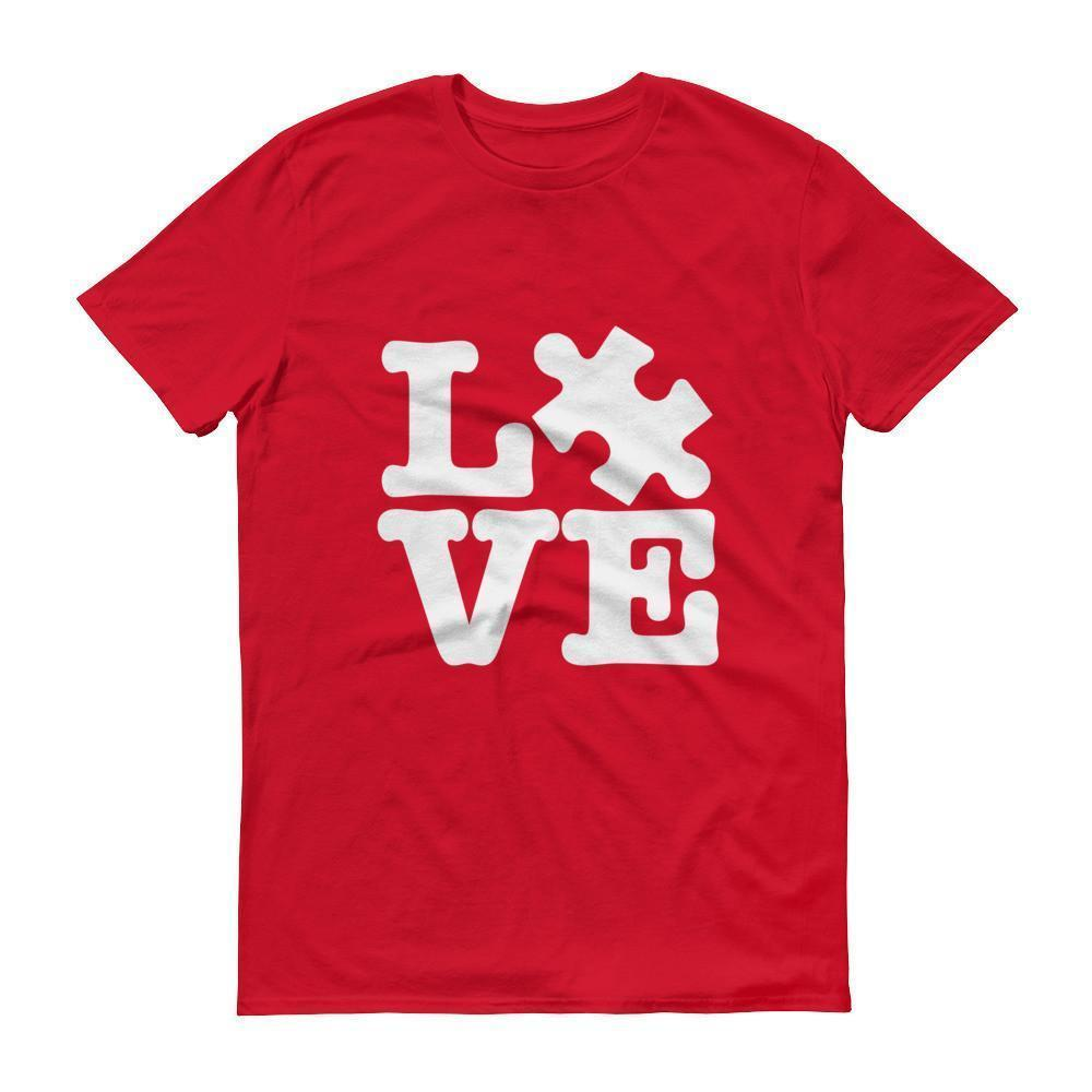 Men's Love Autism Awareness T-shirt Red / 3XL / Men T-Shirt BelDisegno