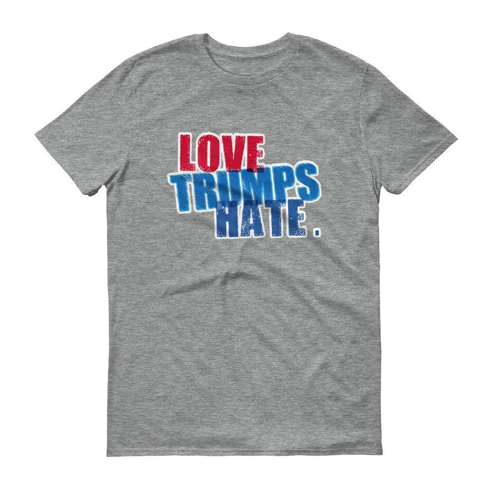 Men's Love Trumps Hate Hillary T-shirt Heather Grey / 3XL / Men T-Shirt BelDisegno