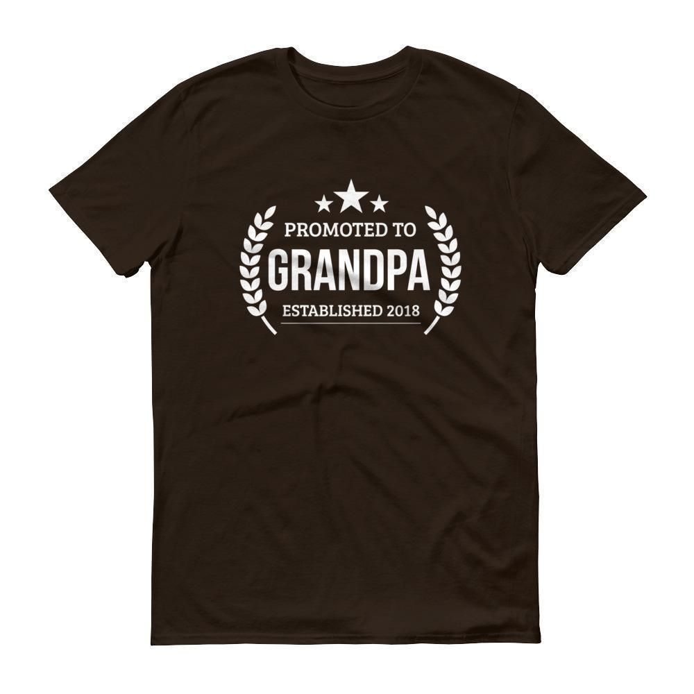 Men's Promoted to Grandpa Established 2018 tshirt New first time Grandpa to be gift Chocolate / 3XL T-Shirt BelDisegno