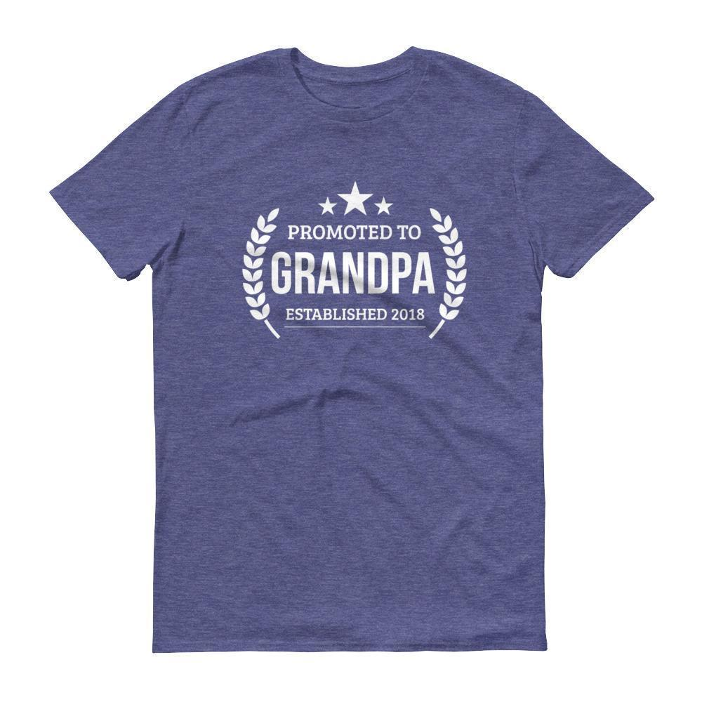Men's Promoted to Grandpa Established 2018 tshirt New first time Grandpa to be gift Heather Blue / 3XL T-Shirt BelDisegno