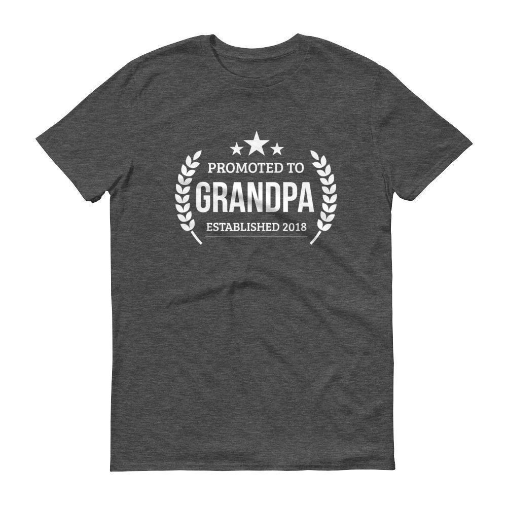 Men's Promoted to Grandpa Established 2018 tshirt New first time Grandpa to be gift Heather Dark Grey / 3XL T-Shirt BelDisegno