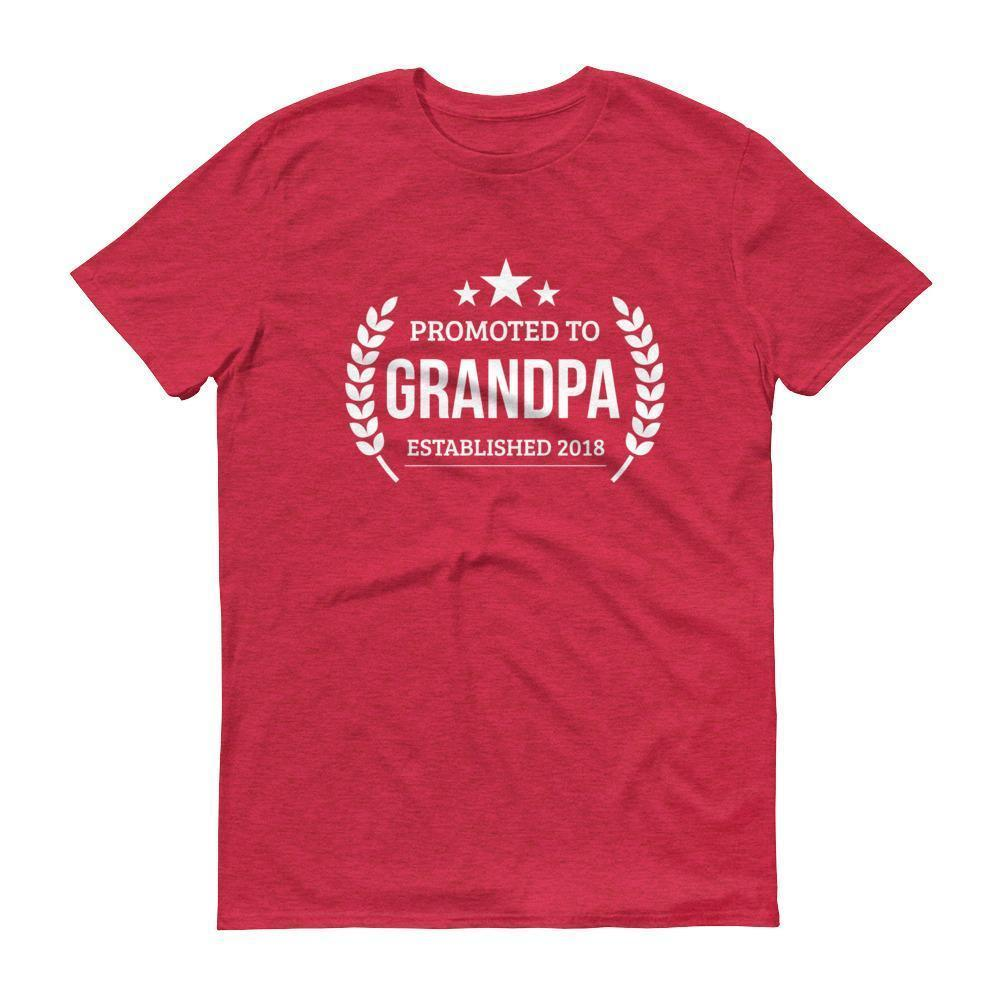 Men's Promoted to Grandpa Established 2018 tshirt New first time Grandpa to be gift Heather Red / 3XL T-Shirt BelDisegno