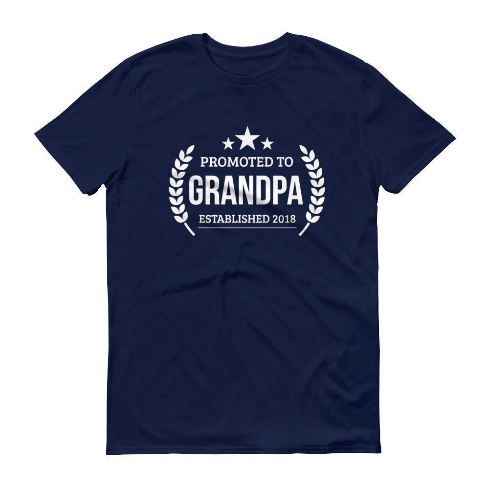 Men's Promoted to Grandpa Established 2018 tshirt New first time Grandpa to be gift Navy / 3XL T-Shirt BelDisegno