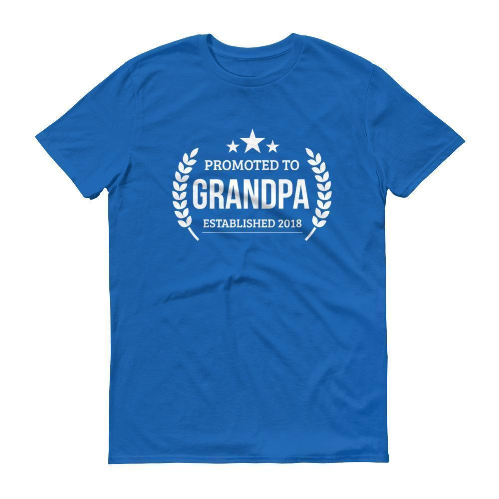 Men's Promoted to Grandpa Established 2018 tshirt New first time Grandpa to be gift Royal Blue / 3XL T-Shirt BelDisegno