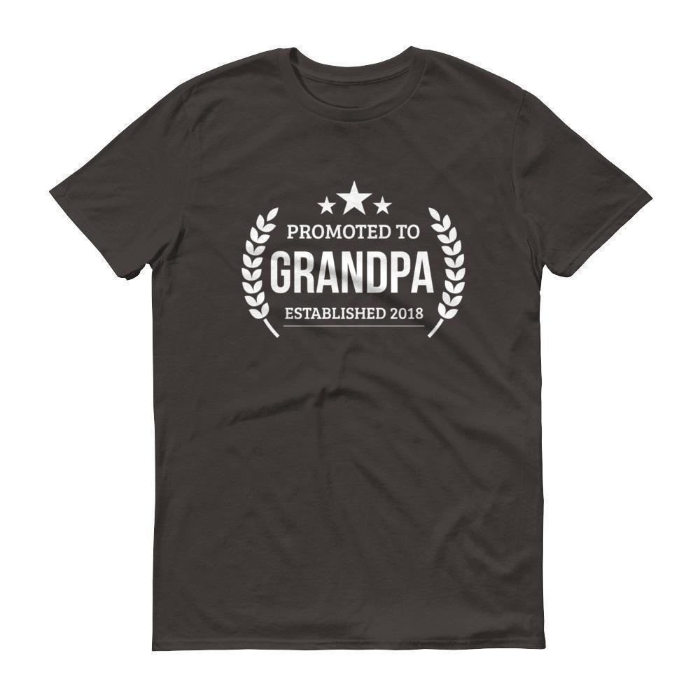 Men's Promoted to Grandpa Established 2018 tshirt New first time Grandpa to be gift Smoke / 3XL T-Shirt BelDisegno