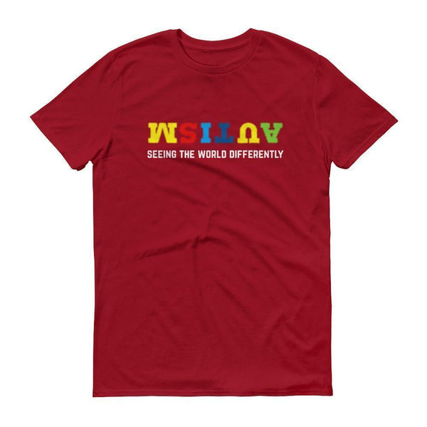 Men's Seeing the World Differently Autism Awareness TShirt-T-Shirt-BelDisegno-Independence Red-S-Men-BelDisegno