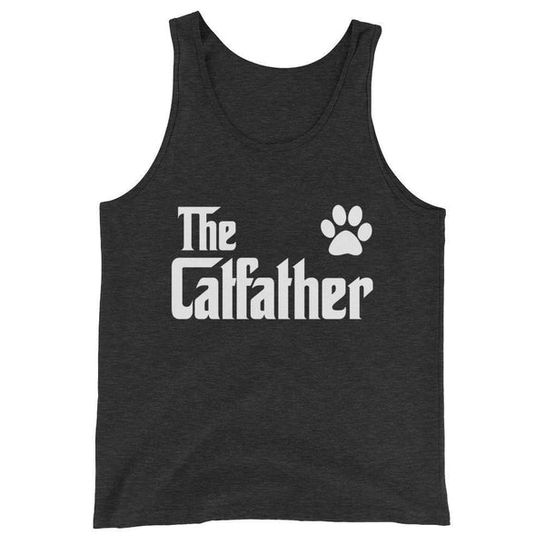 Men's The CatFather Tank Top Cat Lovers Gift for Cat Dad-Tank Top-BelDisegno-Charcoal-black Triblend-XS-BelDisegno