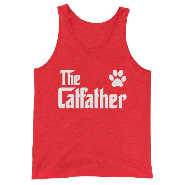 Men's The CatFather Tank Top Cat Lovers Gift for Cat Dad-Tank Top-BelDisegno-Red Triblend-XS-BelDisegno