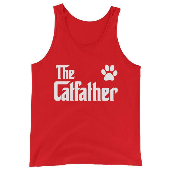 Men's The CatFather Tank Top Cat Lovers Gift for Cat Dad-Tank Top-BelDisegno-Red-XS-BelDisegno