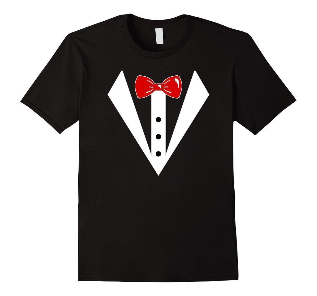 Tuxedo Printed Suit & Tie Funny Business T-shirt Black / 3XL T-Shirt BelDisegno