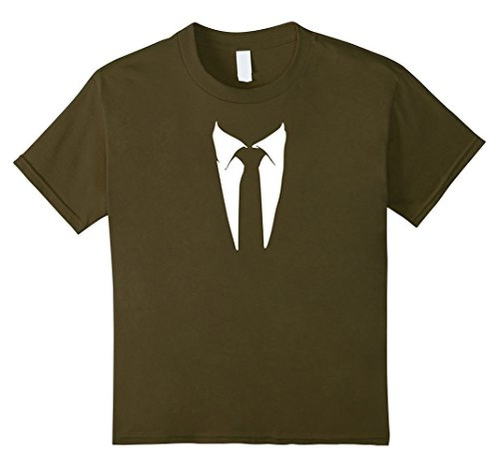 Tuxedo Printed Suit & Tie Funny Business T-shirt Olive / XL / Women T-Shirt BelDisegno