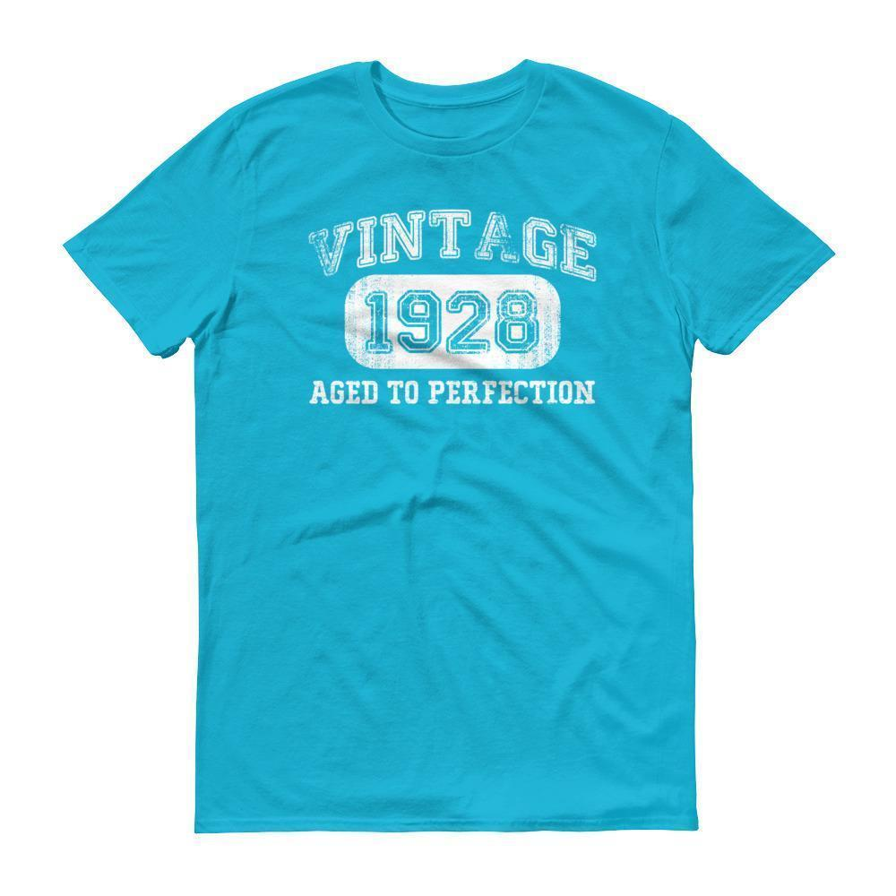Men's 1928 Tshirt 90th birthday ideas for grandpa Caribbean Blue / 3XL T-Shirt BelDisegno