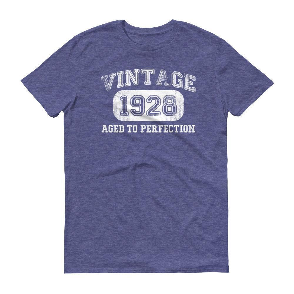 Men's 1928 Tshirt 90th birthday ideas for grandpa Heather Blue / 3XL T-Shirt BelDisegno